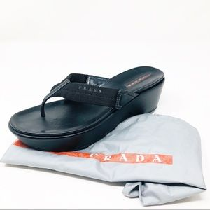 Authentic Prada Sport T Strap Wedge Sandals